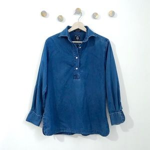 Faconnable Chambray Denim Popover Shirt Collar | S